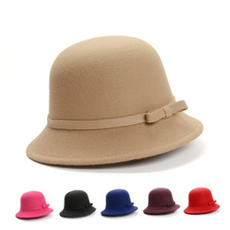 fb15d638a42 Fashion Women Winter Hats Solid Plain Wool Felt Bowler Hats Retro Female  Fedoras Elegant Brand Bow Cloche Bucket Hat