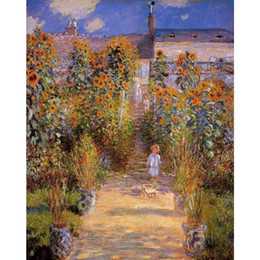 landscape fine art painting UK - Fine art painting by Claude Monet Monets Garden at Vetheuil impressionist canvas artwork for room decor