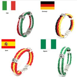 hand wear bracelet Australia - 2018 Russia World Cup Flag Color Bracelet Spain Germany Football Fans Symbolize Wearing Hand-woven Retro PU Leather Bracelet