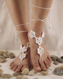 $enCountryForm.capitalKeyWord Australia - Crochet barefoot sandals Nude shoes Foot jewelry Beach wear Yoga shoes Bridal anklet bridal beach accessories lace sandals X003