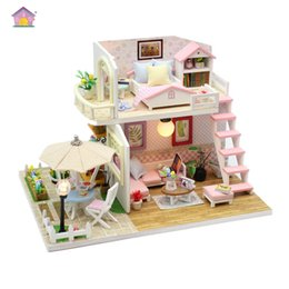 Toys For Children Years NZ - New arrival Miniature Wooden Doll House Building Model With DIY Furniture Fidget Toys For Kids Children Birthday Christmas New Year Gift