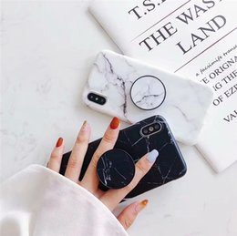 silicone phone holders NZ - Silicone Soft Marble Phone Case For Iphone XS XS MAX Fashion Grip Stand Holder Cover For Iphone XR 8 Plus Protection Back Shell