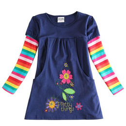 Discount girls cotton frock designs NEAT NOVA Top 2018 retail newest design baby girls flower frocks clothes hot baby long sleeve T-shirt baby kids clothes