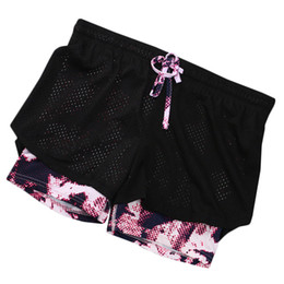 Chinese  2 in 1 Shorts anti-light Fitness Fake two sports Yoga short Pants Korean tight running Women Sport Shorts manufacturers