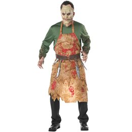 $enCountryForm.capitalKeyWord UK - Adult Bloody Butcher Costume Horror Ghoul Killer Costume Scary Halloween Fancy Dress Shirt Mask Apron Belt Men's Cosplay Outfit