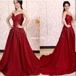 $enCountryForm.capitalKeyWord Australia - 2019 New Red Sweetheart Neck Evening Dresses Appliques Sweep Train Tulle Formal Occasion Prom Dresses Lace Up Party Gown Custom Made