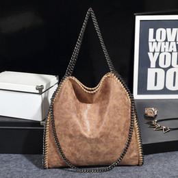 Falabella Chain Bag Canada - 10 Colors Women Soft Pu Leather Falabella Bag Hobo Clutch Solid Shoulder Bag Scrub Sac A Main Female Handbag With 3 Chains