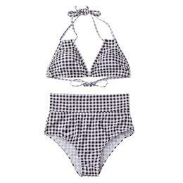 9465e39374b 2018 plaid color swimwear sexy high waist bikini two piece swimsuit women  backless Monokini swimsuit sport bodysuit beach bathing yky211