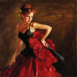 Framed Print Red Abstract NZ - High Quality Handpainted & HD Printed portrait beautiful young girl dancer with fan in red Wall Art oil painting Home Decor On Canvas p138