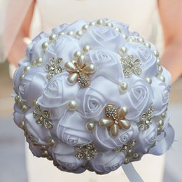 pearl silk cream NZ - Best Price Cream Pearls Mariage Bridal Bouquets Artificial Flower Wedding Bouquets Ramos de Novia Brooch Bouquet Wedding W225