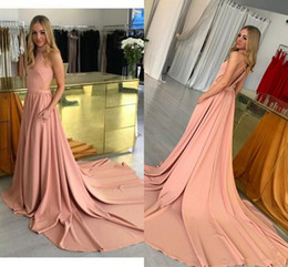 Discount sexy halter dress for girls - Modest blush Halter Evening Dresses with pocket 2018 A line Cheap Backless Dresses Prom Wear Sweep Train Party Gowns For