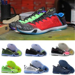 2018 Top quality kobe 10 Low Weaving Basketball Shoes for Mens What the KB  10s Green Black Gold Christmas Rainbow Sports Sneakers US 7-12 74796373b