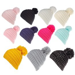 thanksgiving beanie babies 2019 - Wholesale 11 Candy Colors C Icon Winter Hats Pom Pom Kids Brand Hats Beanies Fitted Hat Luxury Polo Hats Baby Warmer Sku
