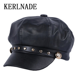 5c0e635f9f32a female women s casual cap new Octagonal Hats Newsboy Cap beret for girl  thick PU leather with handmade spike studs button caps