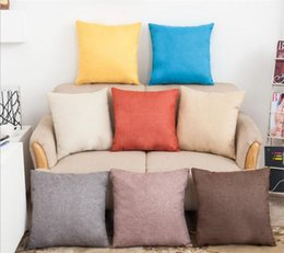 Discount linen gold - 100pcs Solid Color Pillow Covers Cushions Cover Linen Fashion Office Sofa Chair Home car Pillowcase G345