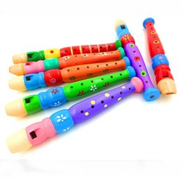 Discount musical instrument clarinet - Wooden cartoon flute children's Clarinet 6 hole piccolo musical instrument infant intelligence toy 20*2.5 cm