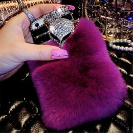 fox bling iphone case UK - Luxury fox head Bling Warm Soft Beaver Rabbit Fur Hair phone cases For iPhone X XS MAX XR 5 5C 6 7 8 Plus protective phone