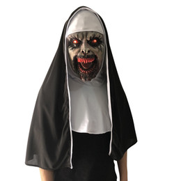 Kids Helmet Wholesale UK - Halloween Costumes The Nun Horror Mask Cosplay Valak Scary Led Light Up Latex Mask Full Face Helmet Demon Kids Party Costume Props 3pcs Set
