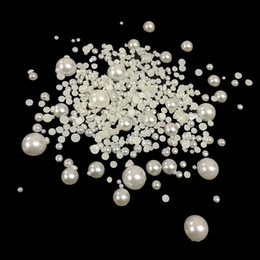 decoration pearls bag Canada - 1000pcs bag Shiny Half Round Pearls Mixed Size Flatback Rice White Glue On Resin Beads DIY Nails Art Crafts Jewelry Decoration