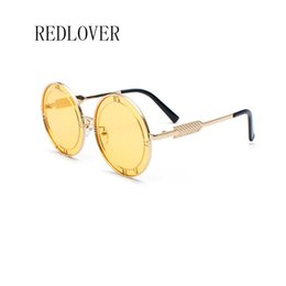 2a9d385e82 Vintage Round Sunglasses Women Retro Glasses Yellow Blue Pink Lense Metal  Frame English letter Glasses Coating Men Eyewear gafas de sol