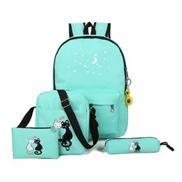 Cute Backpacks For Teenage Girls Australia - School Bags For Teenagers 5 Pcs set Backpack Female Kip Style Cute Cat School Bags For Teenage Girls Printing Canvas 390