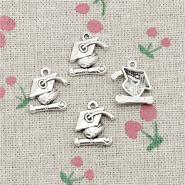Graduation Charm Bracelets Canada - 87pcs Charms graduation cap and diploma 17*16mm Antique Silver Pendant Zinc Alloy Jewelry DIY Hand Made Bracelet Necklace Fitting