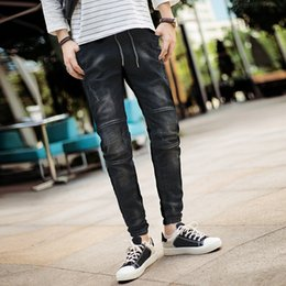 New Trend Casual Jeans Canada - 2018 Autumn New Biker Jeans Men Black Classic Fashion Casual Slim Waist Elastic Drawstring Personality Trend Street Pants