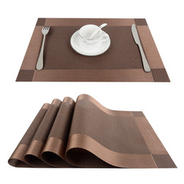 Top Finel 4pcs Lot PVC Decorative Vinyl Placemats For Dining Table Runner Linen Place Mat In Kitchen Accessories Cup Coaster Pad
