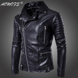 Punk Motorcycle Jacket Australia - Punk style new high-end men's motorcycle leather jacket with zipper men's leather jacket --122