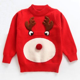 $enCountryForm.capitalKeyWord Australia - Baby Cute Knit Sweater Long Sleeve Red Christmas Baby Clothes Round Neck Crochet Baby Sweater 18092703