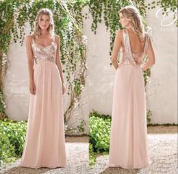 ecccd02115cf Mingli Tengda Rose Gold A-Line Backless Bridesmaid Dresses Lace Sequins  Chiffon Long Beach Bridesmaids Dress Elegant Wedding Guest Gowns