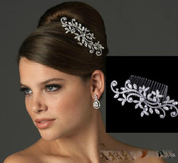 Discount cheap silver combs - cheap Crystal Tiaras & Hair Accessories Sparkly Fancy Wedding Bridal Hair Comb Jewelry Flower Bride Hair Combs In Stock