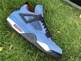 Suede Basketball Shoes NZ - Wholesale New 4 IV Blue suede white Men Basketball Shoes sneakers sports outdoor trainers top quality outdoor SIZE 8-13