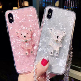 Designs For Iphone Cases Australia - Bling Luxury Bear Design Phone Case For iphone X 7 Plus TPU Back Cover Lovely Women Mobile Phone Protective Case with Lanyard