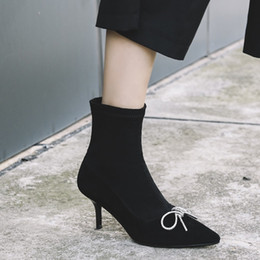$enCountryForm.capitalKeyWord NZ - Pointed Toe Women Ankle Fashion Boots Shoes 2018 Black Suede Autumn Female Runway Heeled Dress Short Boots Shoes Ladies Fashion Booties