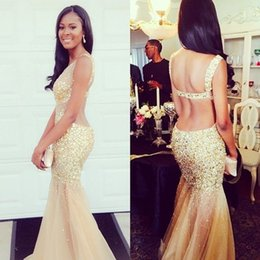 chic model 2019 - V Neck Tulle Mermaid Champagne Sparkly Prom Evening Gown Open Back model robe de soiree robe soiree courte et chic cheap