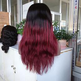 $enCountryForm.capitalKeyWord NZ - Cheap Hair High Quality Color 1B red Virgin Human Hair Straight Brazilian Virgin Straight Human Hair Lace Front Wig Two Tone Color