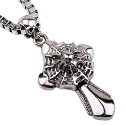 $enCountryForm.capitalKeyWord Canada - Men's Biker Pendant Necklace Alloy Spide Cross Pendant For Man Unique Gothic Punk Retro Sport Biker Skeleton Male Jewelry