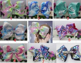 "kid hair clips for sale UK - hot sale 20pcs lot 8"" Jumbo Mermaid Hair Bow With Alligator Clip For Girls Large Handmade Rainbow Kids Hair Accessories"