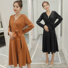 337a72c612bd7 Autumn Winter Fashion Maternity Dress V neck Ties Waist Slim Clothes for  Pregnant Women Thicken Pregnancy
