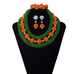 African Jewelry Sets China NZ - 3 Rows Green and Orange Women Bridal Costumes Crystal Beads Necklace Nigerian Wedding Beads Jewelry African Wedding Beaded Jewelry Set