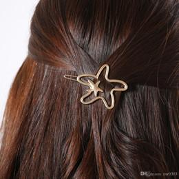 starfish wedding hair 2018 - Fashion Women Hollow Out Headdress Starfish Hair Pins Gold Silver Color Barrettes Hair Clip Hair Accessories cheap starf