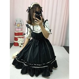 Dresses Tops Canada - Summer Japanese Punk Gothic High waist jsk Dress Lolita Dresses with tops Wine red ,Pink ,Black .bow-knot