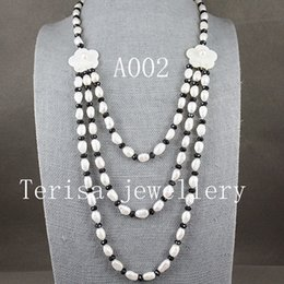 Black pearls jewellery online shopping - New Arriver Natural Pearls Jewellery White Freshwater Pearl Necklace Black Crystal Beads Nice Shell Flower Jewelry