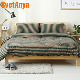 beds china 2019 - Svetanya China knitted Cotton Bedlinens Green Stripe Printing Bedding Sets (Pillowcase flat or fitted Sheet Duvet Cover