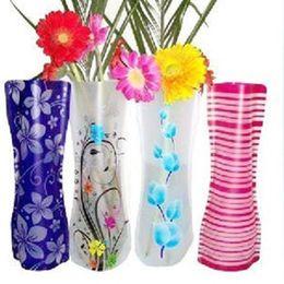 Toptan satış DHL Sıcak Pvc Katlanabilir Vazolar Katlanabilir Su Torbası Plastik Düğün Parti Vazolar Ev Süsler Dekorasyon Tablletop Vazo 27 * 12 cm HH7-1075