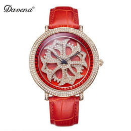 Chinese  Ladies Luxury Bling Rhinestone Genuine Leather Rotate Flower Watches Women Quartz Watch Waterproof Best Quality Gift Davena Top manufacturers