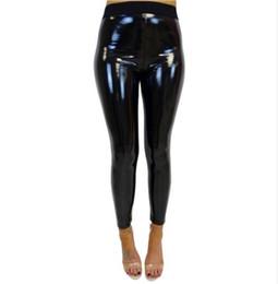 Venta al por mayor de 2018 mujeres de cintura alta pantalones de cuero PU estiramiento polainas lápiz flaco negro Sexy señoras pantalones femeninos Q4