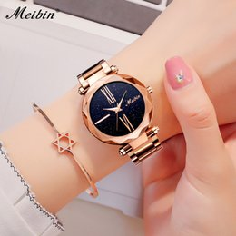 solid gold wristwatch 2019 - wholesale Top Brand Casual Women Quartz Watches Luxury Starry Sky Dial Solid Steel Band Ladies Wristwatch Relojes Mujer
