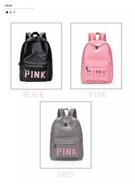 sequin bag clothing 2019 - 31*41*13cm PU leather Pink Sequin shoulder bag Girls Pink letter backpack for travel outdoor hiking School bag cheap seq